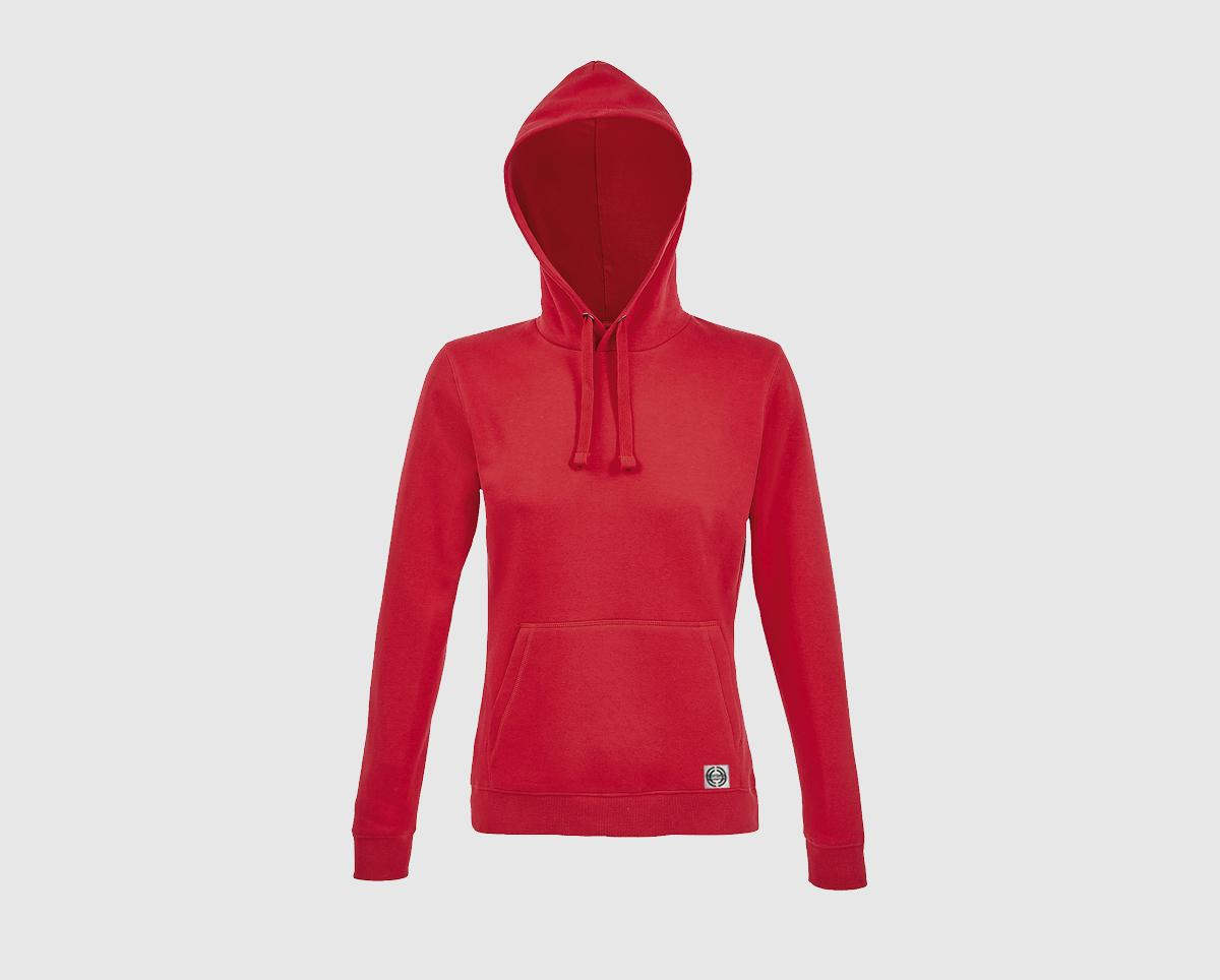 """Sudadera capucha clásica mujer """"inicial pequeña"""" color rojo"""