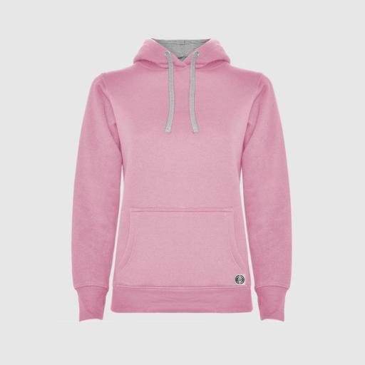 """Sudadera capucha bicolor mujer """"inicial grande"""" color rosa-gris"""