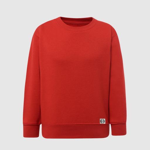 """Sudadera cuello redondo clásica niñ@ """"inicial grande"""" color rojo"""