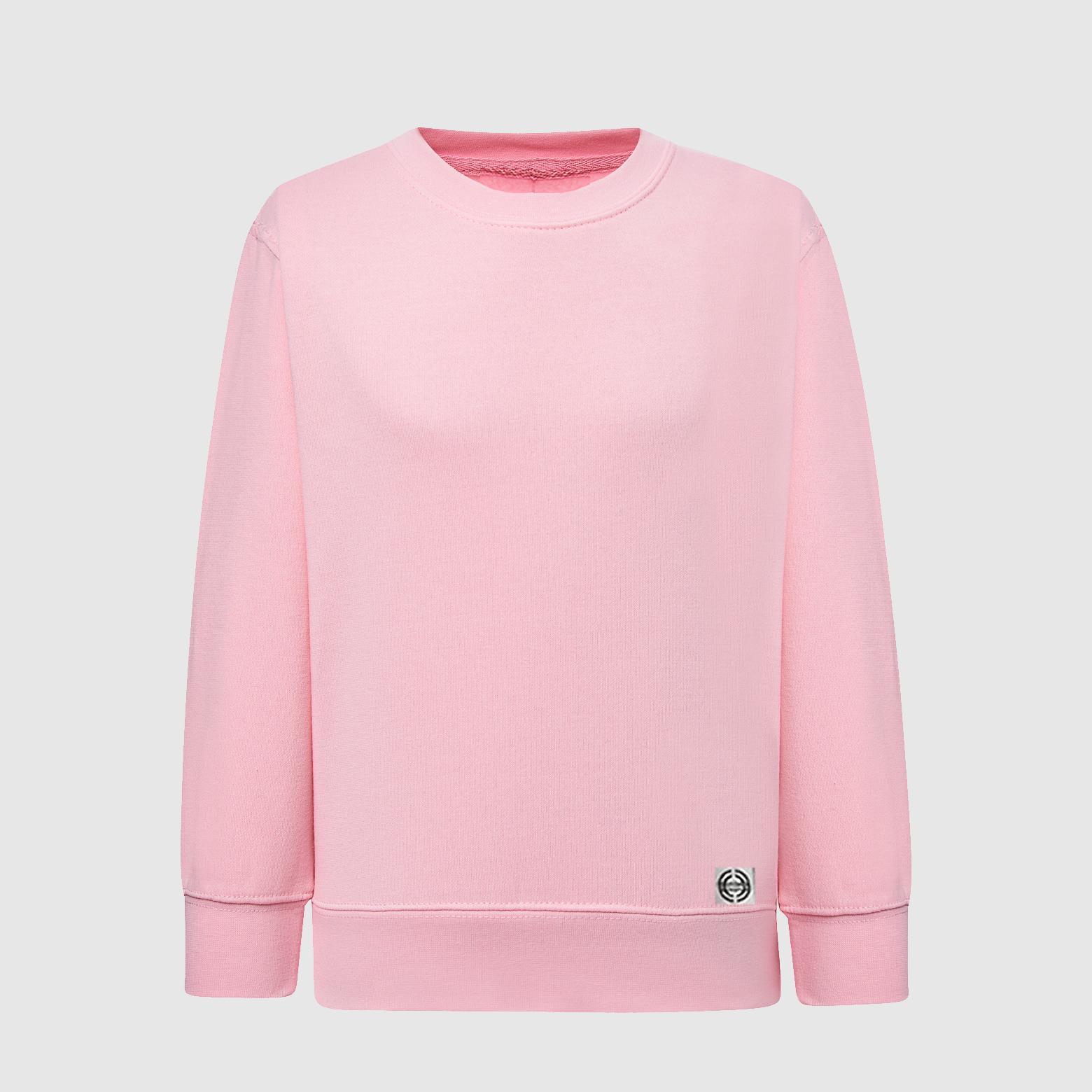 """Sudadera cuello redondo clásica niñ@ """"inicial pequeña"""" color rosa"""