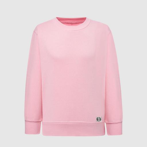 """Sudadera cuello redondo clásica niñ@ """"inicial grande"""" color rosa"""