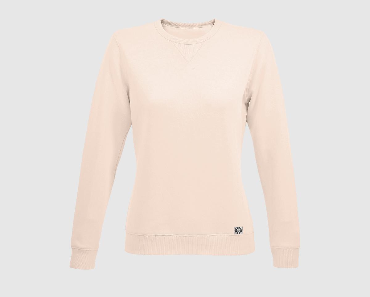 """Sudadera cuello redondo clásica mujer """"inicial grande"""" color rosa crema"""