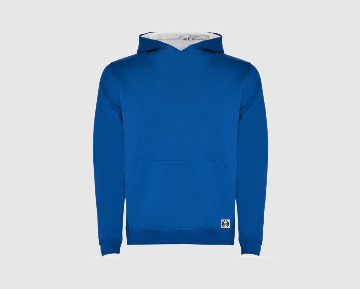 Sudadera capucha bicolor niñ@ color azul royal-blanco