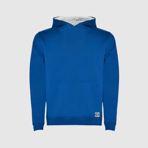 """Sudadera capucha bicolor niñ@ """"inicial pequeña"""" color azul royal-blanco"""