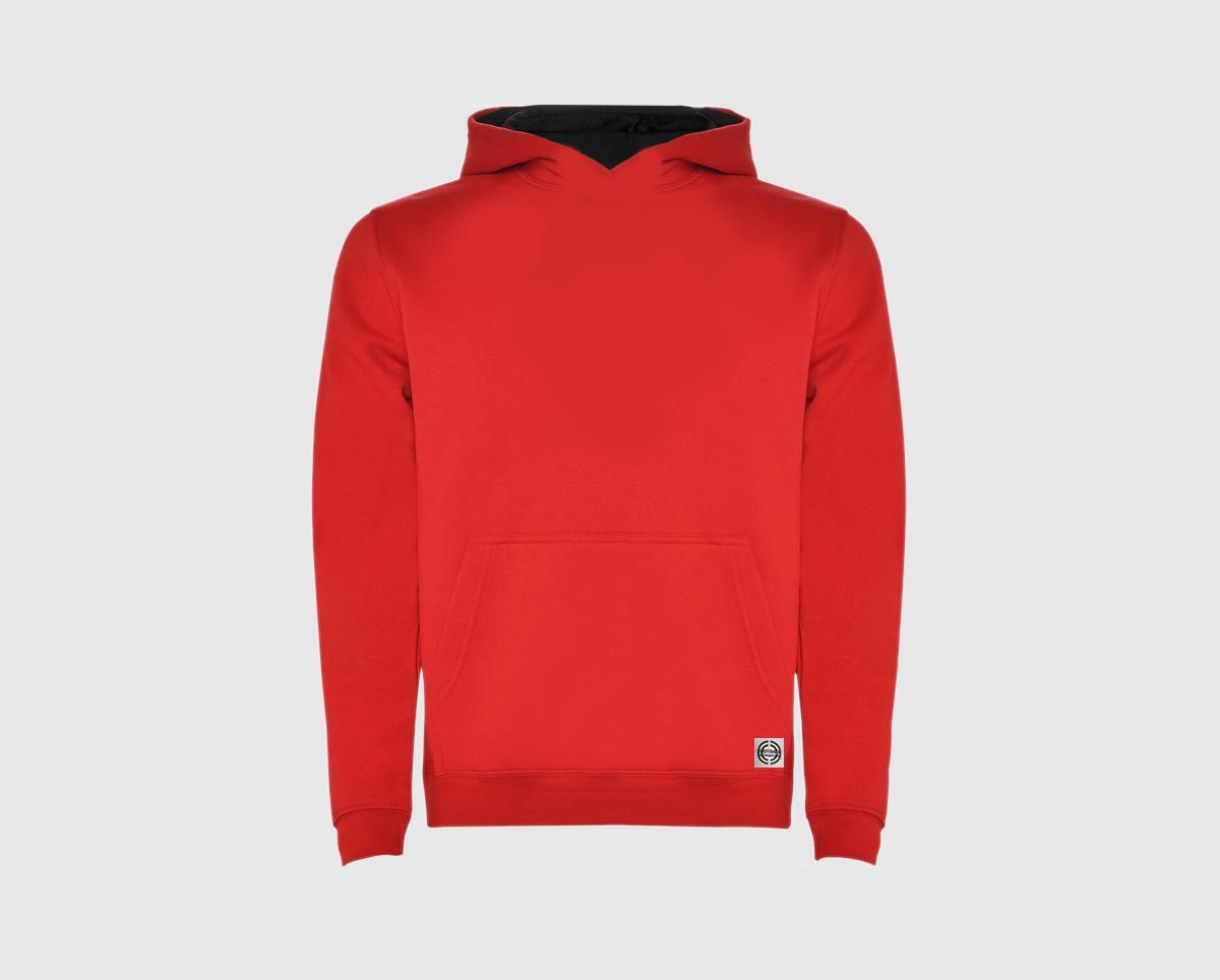 """Sudadera capucha bicolor niñ@ """"inicial grande"""" color rojo-negro"""