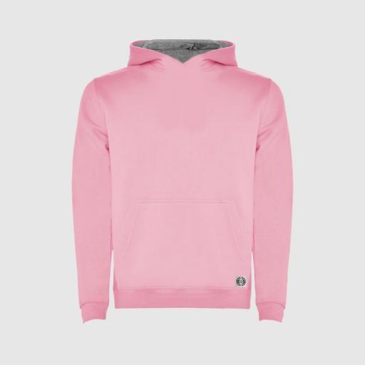 """Sudadera capucha bicolor niñ@ """"inicial pequeña"""" color rosa-gris"""