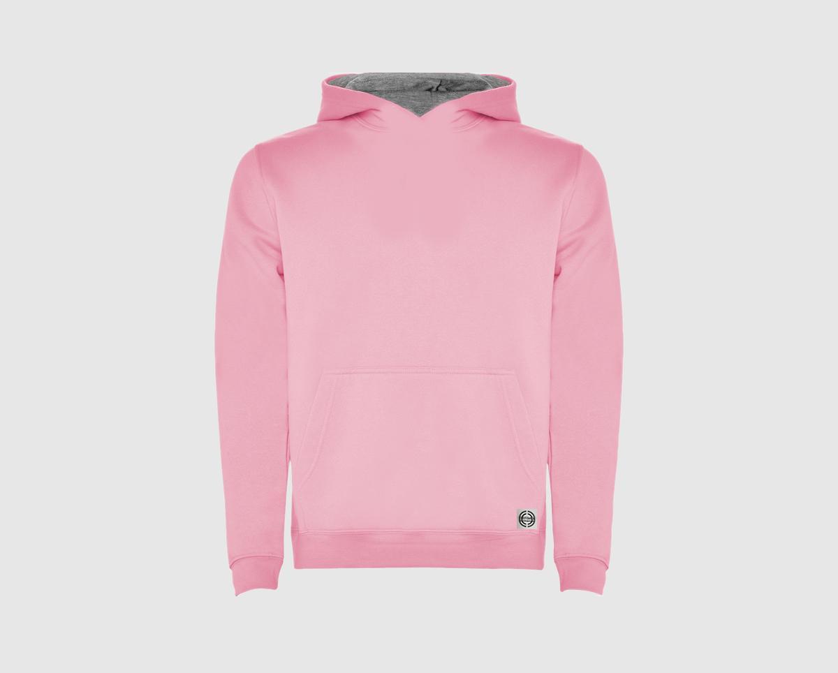 """Sudadera capucha bicolor niñ@ """"inicial grande"""" color rosa-gris"""