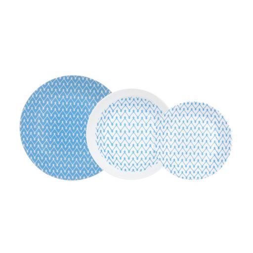 Vajilla Azulea.  Caja 18 piezas. VIDRIO OPAL