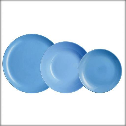 Vajilla Divali colr Azul. Caja 18 piezas. VIDRIO OPAL