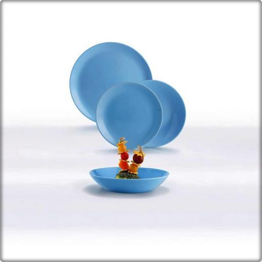 Vajilla Divali colr Azul. Caja 18 piezas. VIDRIO OPAL  [2]