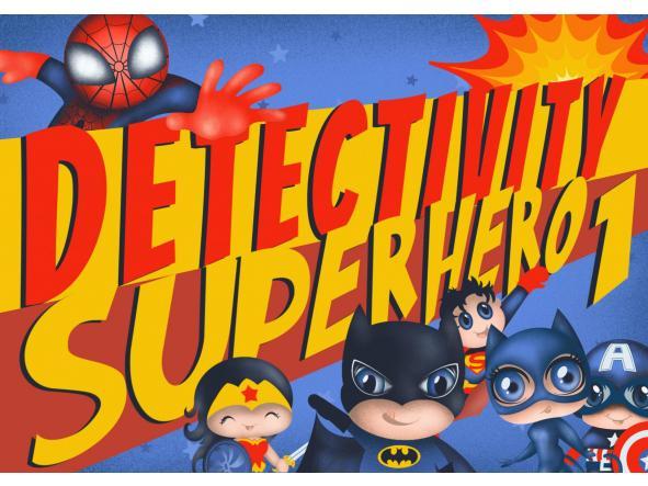 Juego de pistas cumpleaños Detectivity Superheroes 1 (ESP)