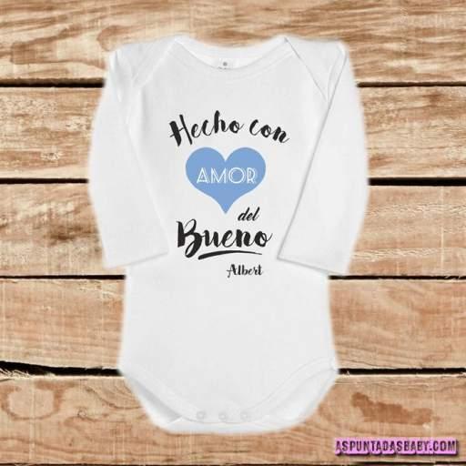 Body bebé mod. Hecho con amor del bueno (azul-negro) [1]