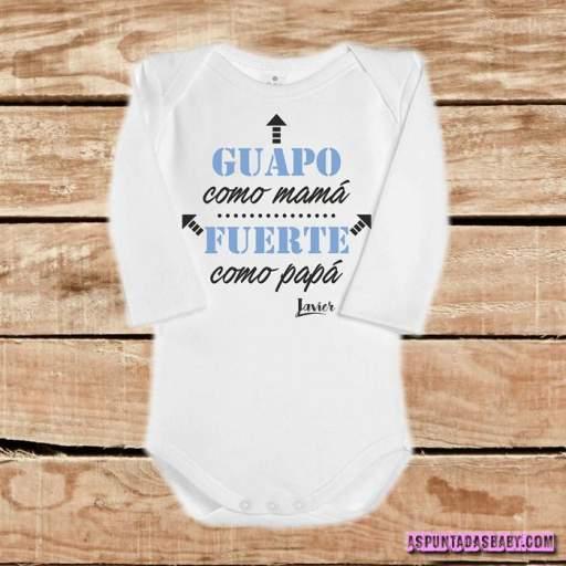 Body bebé mod. Guapo como Mamá, Fuerte como Papá (azul) [1]