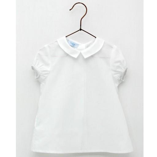 Camisa Foque bebé cuello batista color blanco.