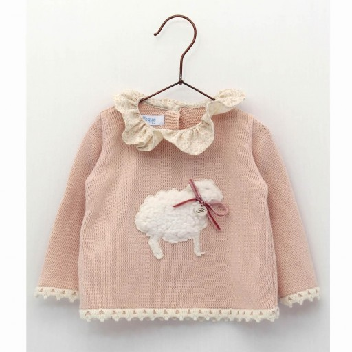 Jubón bebé Foque color rosado suave.