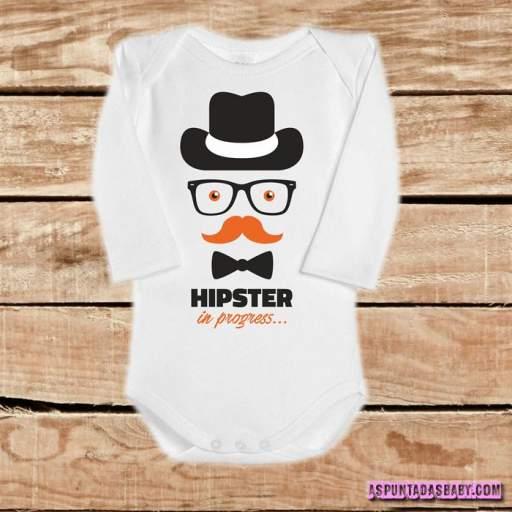 Body bebé mod. Hipster in progress... (Personalizable el color del bigote)