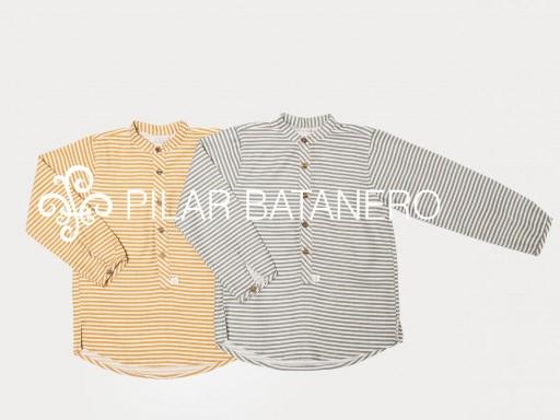 Camisa Pilar Batanero mod. Rayas horizontales color ocre. [1]