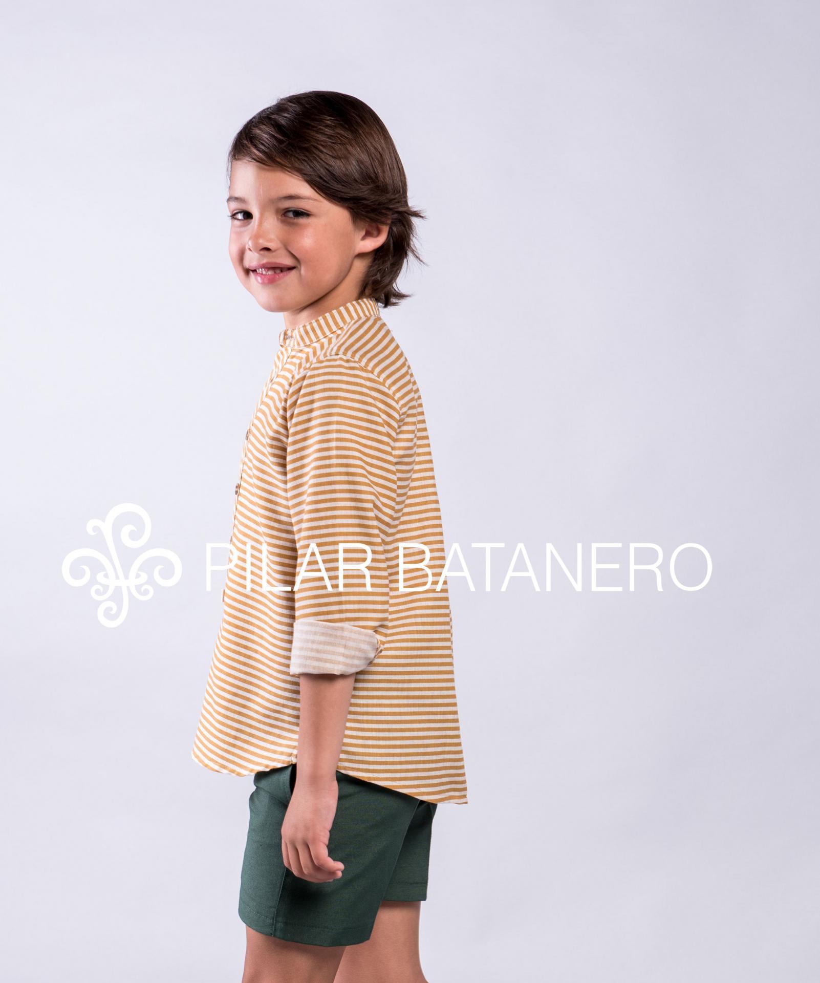 Camisa Pilar Batanero mod. Rayas horizontales color ocre.