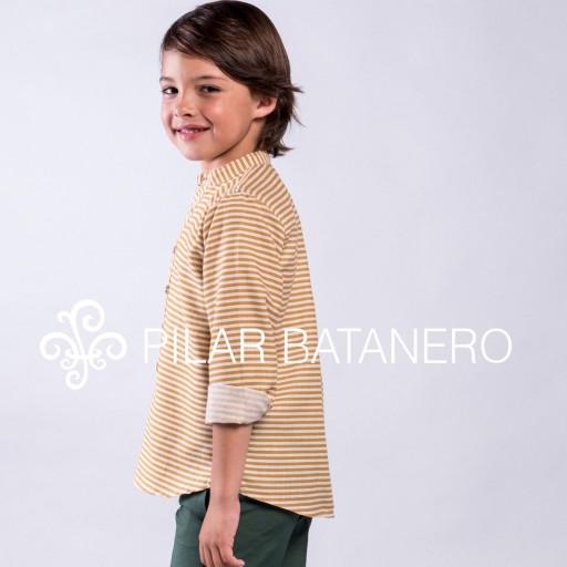 Camisa Pilar Batanero mod. Rayas horizontales color ocre. [0]
