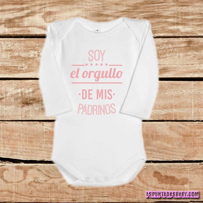 Body bebé mod. Soy el orgullo de mis padrinos, color blanco-rosa.