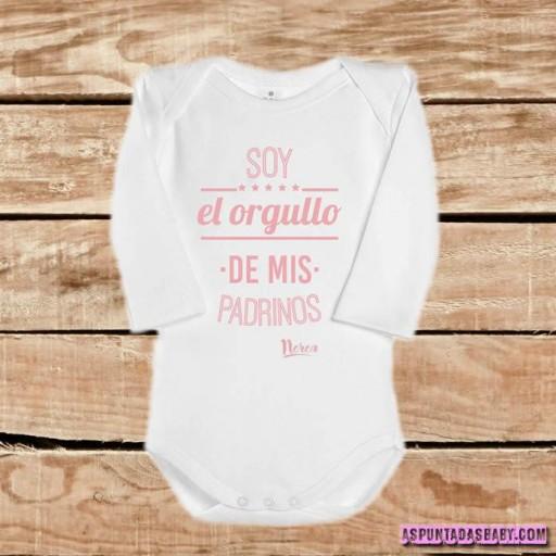 Body bebé mod. Soy el orgullo de mis padrinos, color blanco-rosa.  [1]