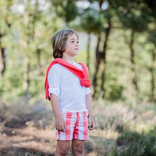 Pantalón César Blanco color coralina.