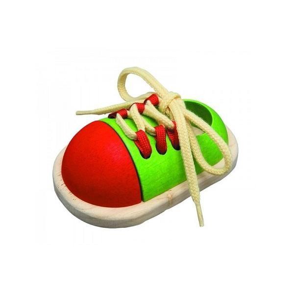 Ata tu zapato, juguete de madera - Plantoys
