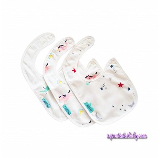 """Pack de 3 baberos """"Tiny Twinkle"""" , estrellas - unicornio - pajaros"""