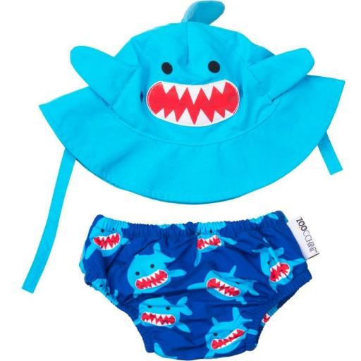 Set Bañador de Pañal y Sombrero Zoocchini mod. Tiburón