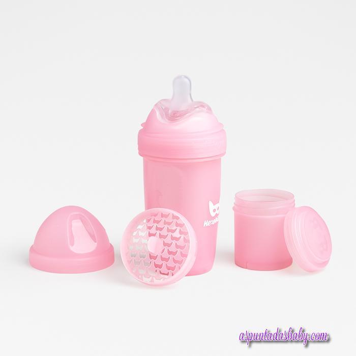 Biberon Herobility 240 ml  color rosa.
