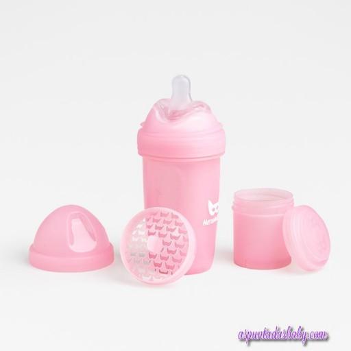 Biberon Herobility 340 ml color rosa.