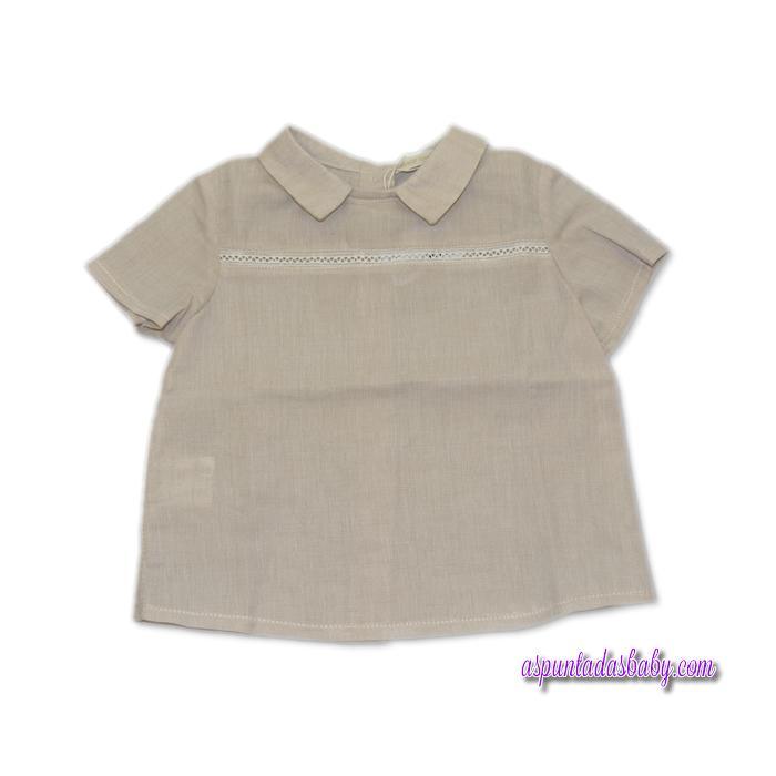 Blusa César Blanco Color Piedra