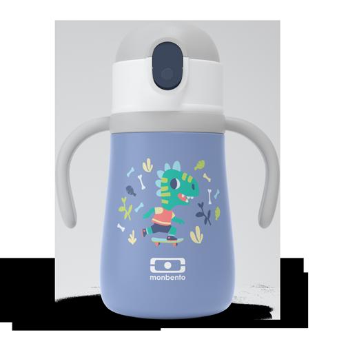 Botella térmica infantil en acero con pajita, Dino