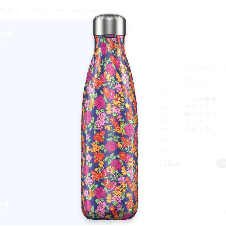 Botella Chilly´s Inox mod. Rosas salvajes 500 ml