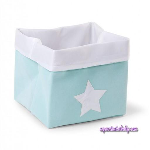 Caja Canvas Plegable Childhome 32x32x29 color menta/blanco