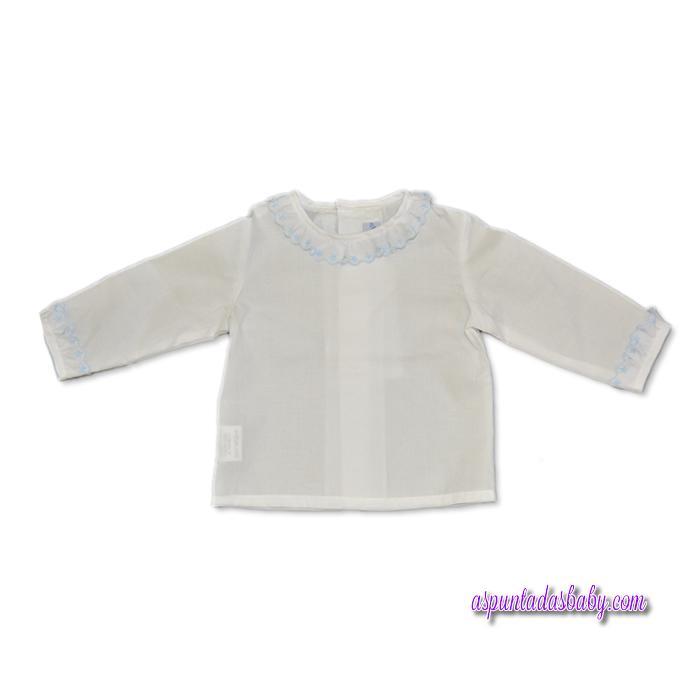 Camisa Ancar cuello batistas puntilla estrellas color blanco-azul.