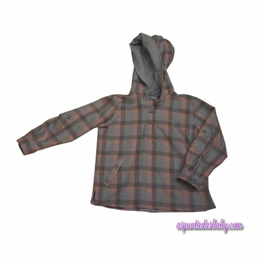 Camisa Ancar capucha cuadros rosa y gris,