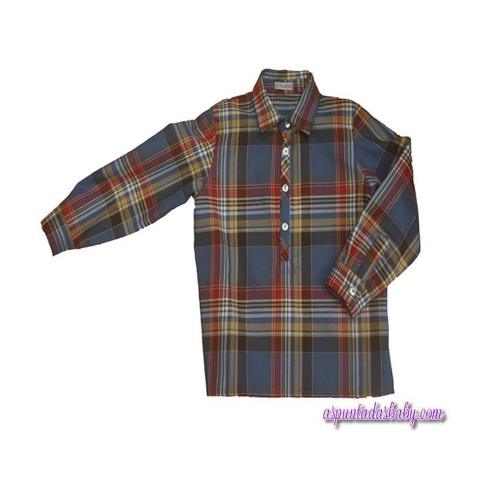 Camisa Ancar cuadros escoceses color azul-burdeos