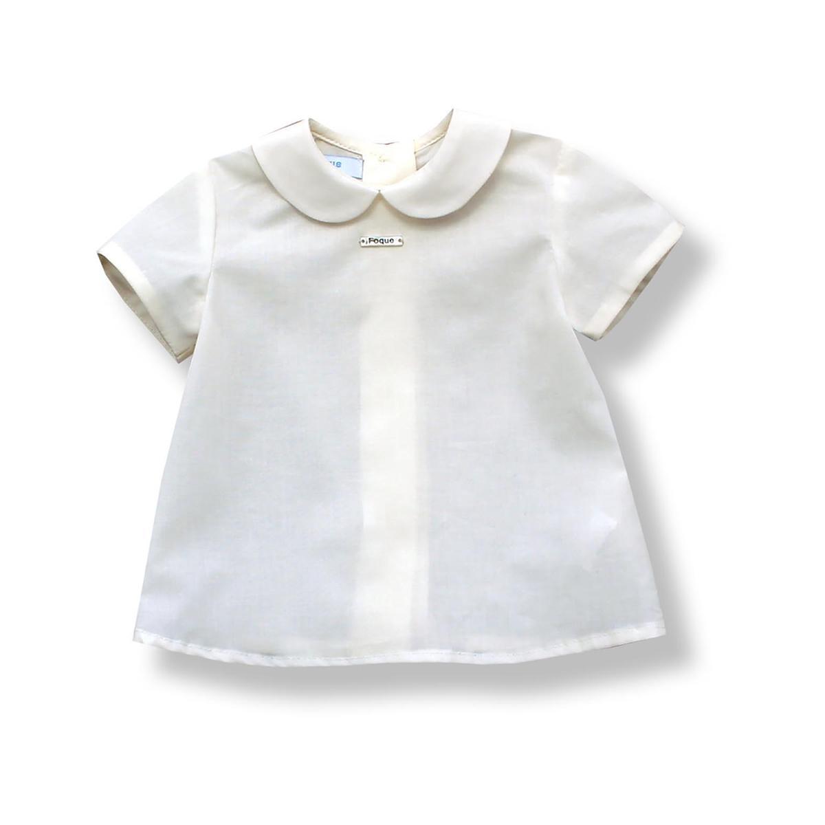 Camisa Foque Bebé Batista Cuello Bebé Color Crudo