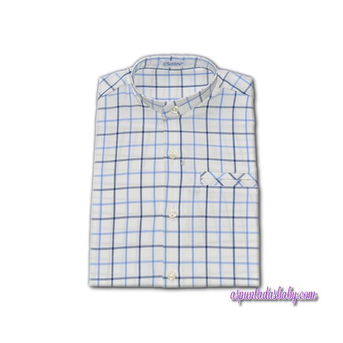 Camisa Ancar cuello mao bolsillo ojal cuadros azul.