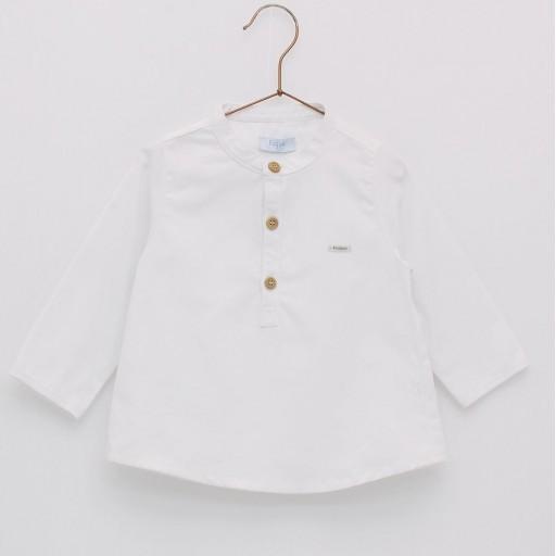 Camisa básica oxford cuello mao Foque color blanco.