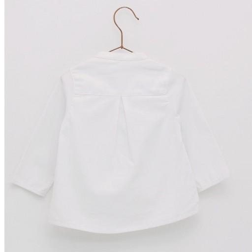Camisa básica oxford cuello mao Foque color blanco.  [1]
