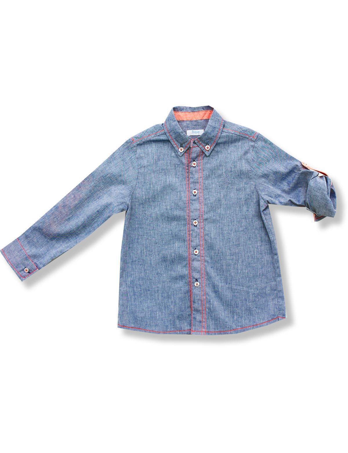 Camisa Foque Niño Lino Jeans Con Pespuntes Flúor A Contraste