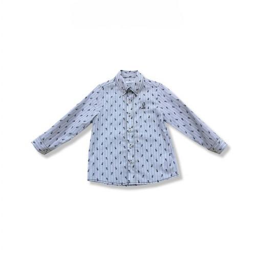 Camisa Foque Niño Corte Clásico Tejido Lino Rayas Con Estampado Piñas