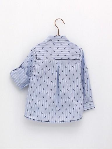 Camisa Foque Niño Corte Clásico Tejido Lino Rayas Con Estampado Piñas [1]
