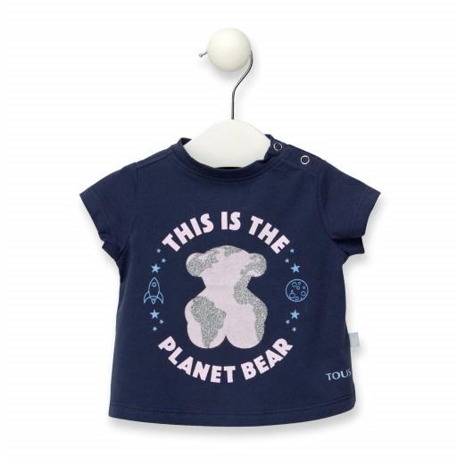 Camiseta De Niña Baby Tous Planet Bear Casual Azul Marino
