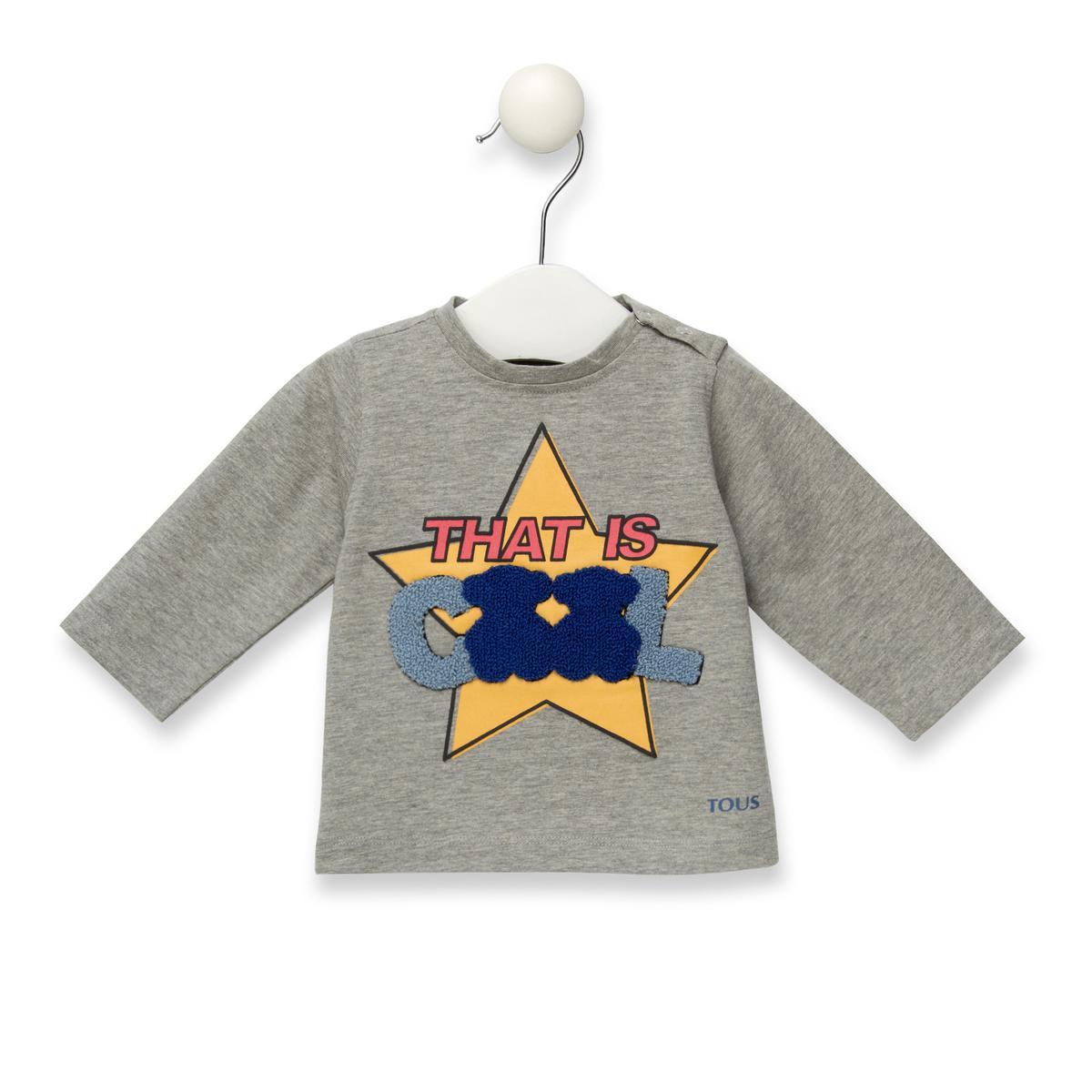 Camiseta Baby Tous manga larga de niño Casual color gris.