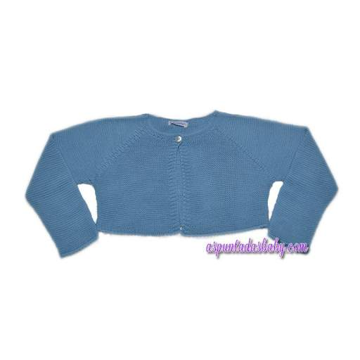 Chaqueta perlé Ancar mod. cuello a la caja con un botón color azul medio.