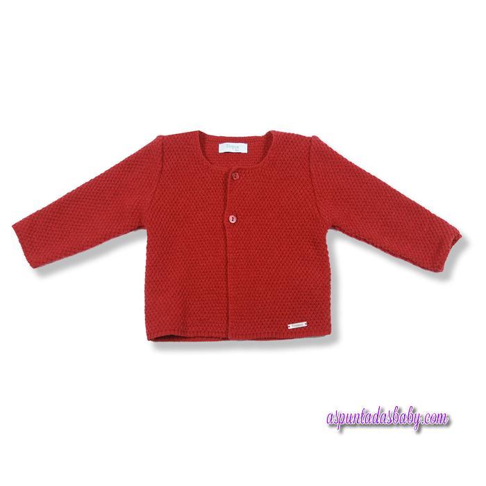 Chaqueta Foque básicos punto picado escote color rojo.