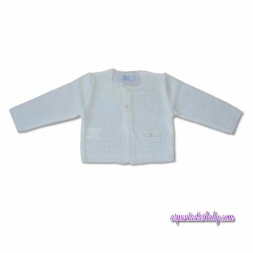 Chaqueta Foque niño bolsillos simulados mod. básicos perle color blanco.